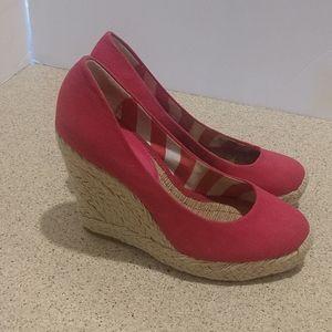 BCBG Pink Wedge Heels Size 7